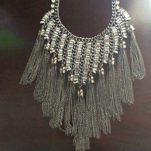 Gun metal Bebe necklace with silver /rhinestones